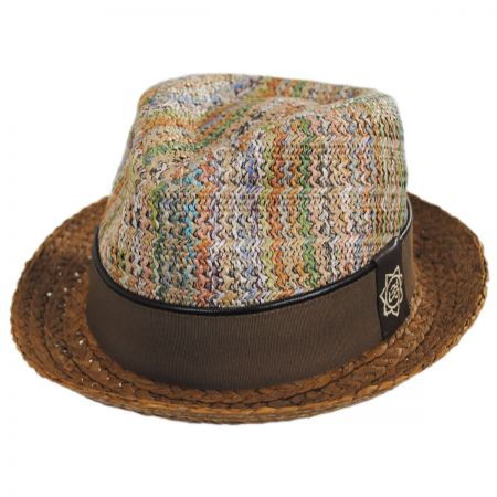 Mosaic Raffia Straw Blend Fedora Hat alternate view 9