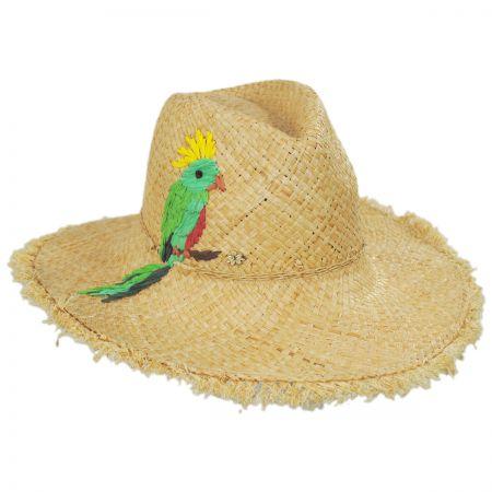 Birdrock Raffia Straw Fedora Hat