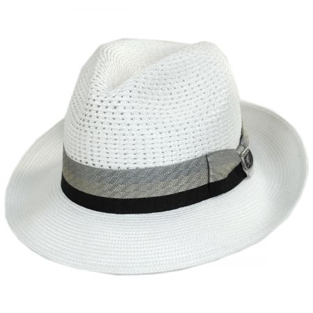 6f939c54959f5 White Fedora With Black Band at Village Hat Shop