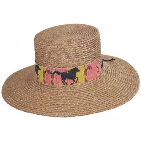 Smithsonian Wild Horses Milan Straw Boater Hat