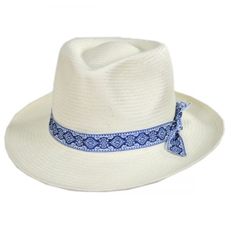 Azure Toyo Straw Fedora Hat
