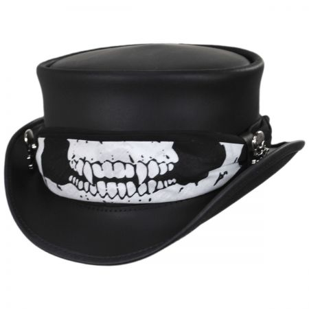 Head 'N Home Skull Rider Leather Top Hat