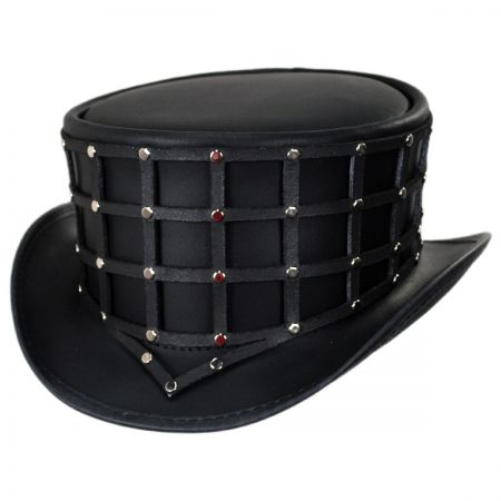 30e2752342a55 Head  N Home Reversible Cage Leather Top Hat