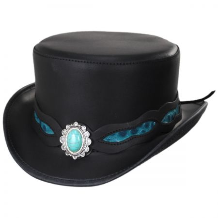 Head 'N Home Elegant Turquoise Leather Top Hat