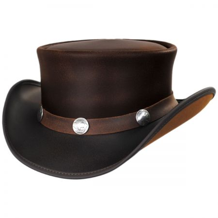 Head 'N Home Buffalo Pale Rider Leather Top Hat
