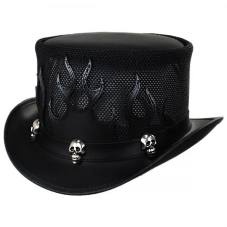 Head 'N Home Flames Leather Blend Top Hat