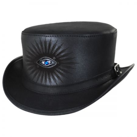 Evil Eye Leather Top Hat