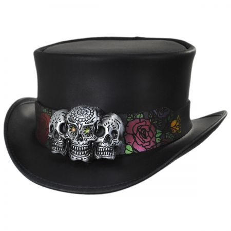 Head 'N Home Calavera Band Leather Top Hat