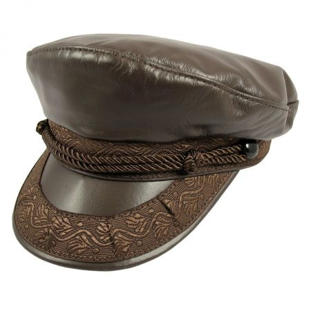 Leather Greek Fisherman's Cap