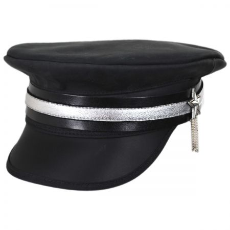 Shooting Star Leather Military Peaked Cap alternate view 1