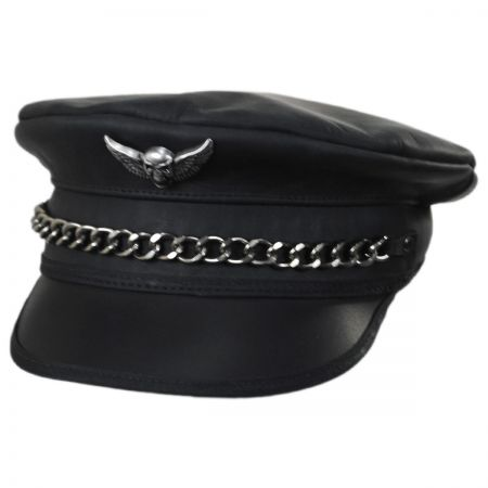 Head 'N Home Lockn' Leather Military Peaked Cap