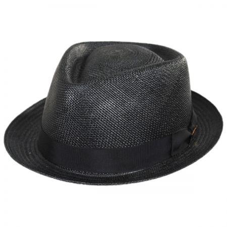 Montecarlo Grade 8 Panama Straw Diamond Crown Stingy Brim Fedora Hat alternate view 1