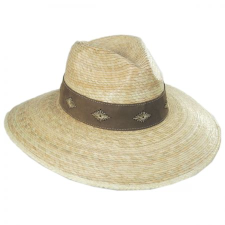 Bianca Palm Straw Safari Fedora Hat