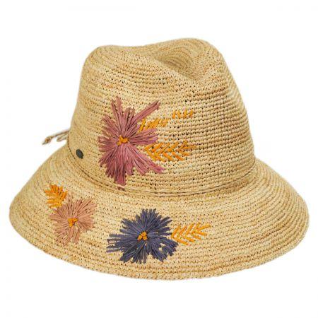 Scala Lisse Hand Crocheted Raffia Straw Fedora Hat