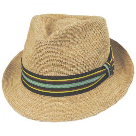 Lorenzo Hand Crocheted Raffia Straw Fedora Hat alternate view 1