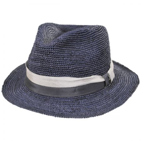 Brooklyn Hat Co Matteo Hand Crocheted Raffia Straw Fedora Hat