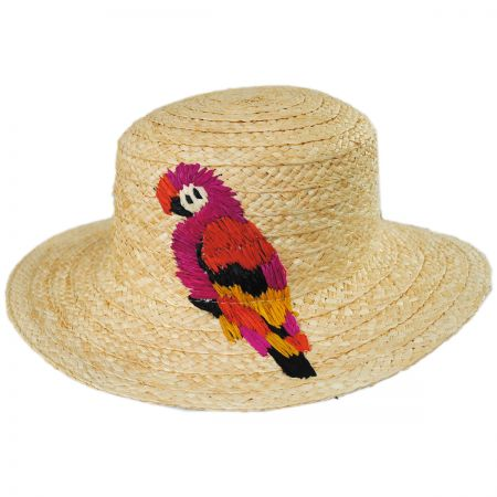Polly Parrot Raffia Straw Boater Hat alternate view 1