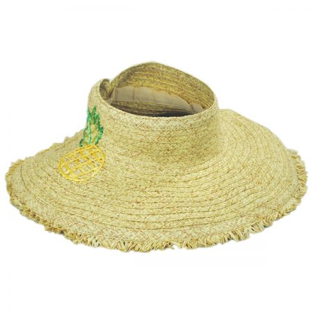 Pineapple Embroidered Toyo Straw Blend Roll Up Visor Hat