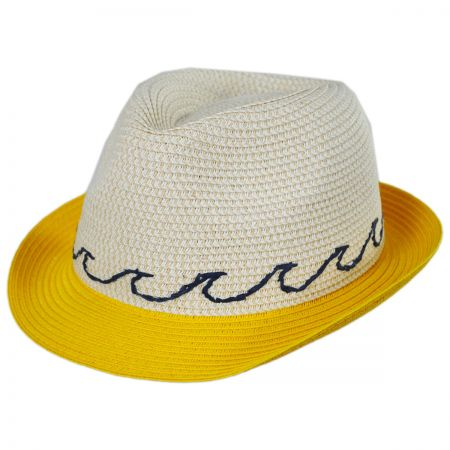 San Diego Hat Company Waves Kids Toyo Straw Blend Fedora Hat