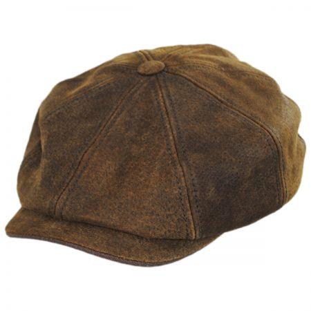 6d233dd0 Pigskin Leather Newsboy Cap