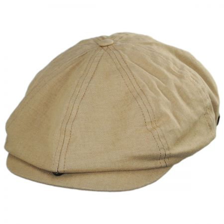 f4968bd416c Brixton Hats Brood Solid Linen and Cotton Newsboy Cap