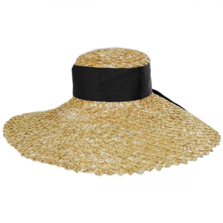 Chevron 6.5 Inch Brim Wheat Braid Lampshade Hat