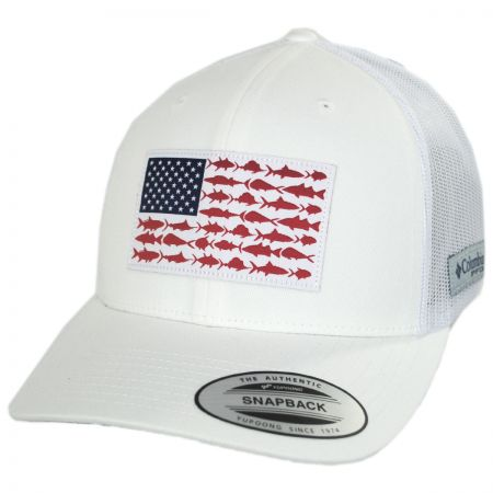 Columbia Sportswear PFG Fish Flag Mesh Snapback Baseball Cap ... ef6f2ba49d5