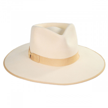 Ivory Wool Felt Rancher Fedora Hat alternate view 1