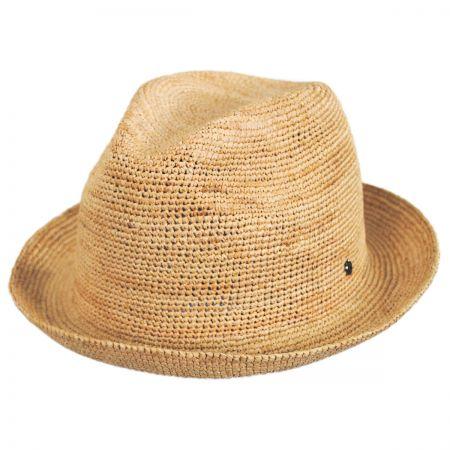 EK Collection by New Era Crochet Raffia Straw Fedora Hat
