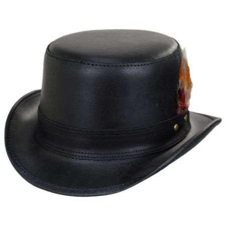 Stoker Double Stitch Band Leather Top Hat