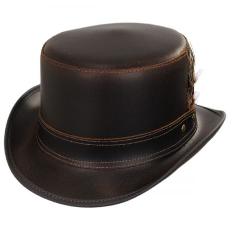 Stoker Double Stitch Band Leather Top Hat alternate view 5