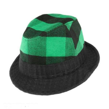 August Accessories Plaid Attack Fedora Hat