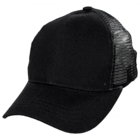 Mesh High Ponytail Adjustable Trucker Baseball Cap