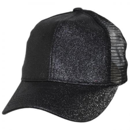 C.C PonyCaps Glitter Mesh High Ponytail Adjustable Trucker Baseball Cap