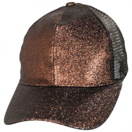 Glitter Mesh High Ponytail Adjustable Trucker Baseball Cap alternate view 3