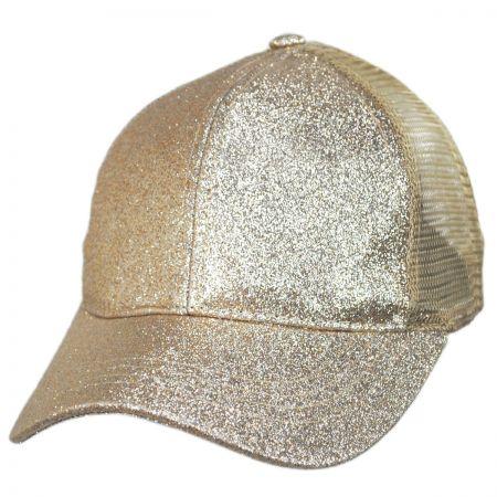 Glitter Mesh High Ponytail Adjustable Trucker Baseball Cap alternate view 5