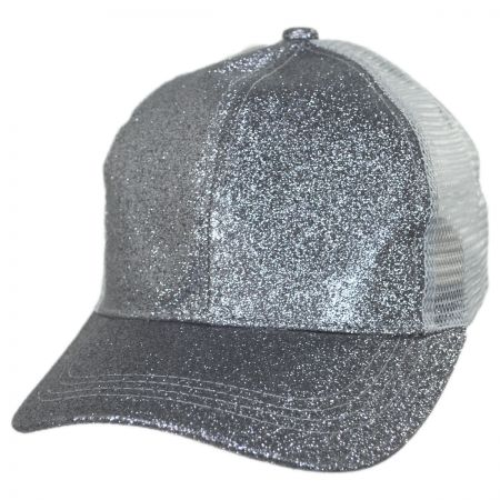 Glitter Mesh High Ponytail Adjustable Trucker Baseball Cap alternate view 5