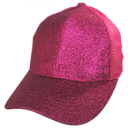 Glitter Mesh High Ponytail Adjustable Trucker Baseball Cap alternate view 7