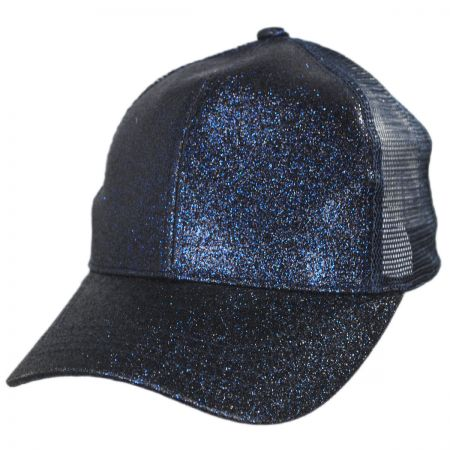 Glitter Mesh High Ponytail Adjustable Trucker Baseball Cap alternate view 11