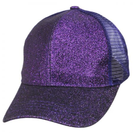 Glitter Mesh High Ponytail Adjustable Trucker Baseball Cap alternate view 13