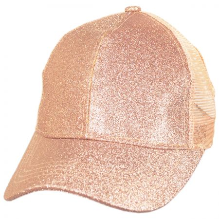 Glitter Mesh High Ponytail Adjustable Trucker Baseball Cap alternate view 17
