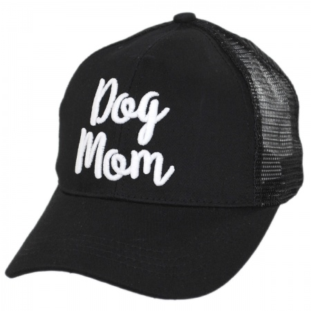 Dog Mom High Ponytail Adjustable Trucker Baseball Cap alternate view 1