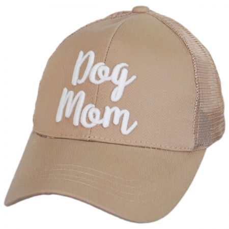 Dog Mom High Ponytail Adjustable Trucker Baseball Cap alternate view 9
