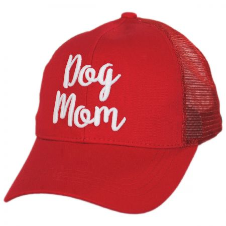 Dog Mom High Ponytail Adjustable Trucker Baseball Cap alternate view 13