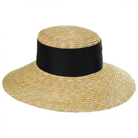 Jeanne Simmons Louisa Milan Straw Boater Hat