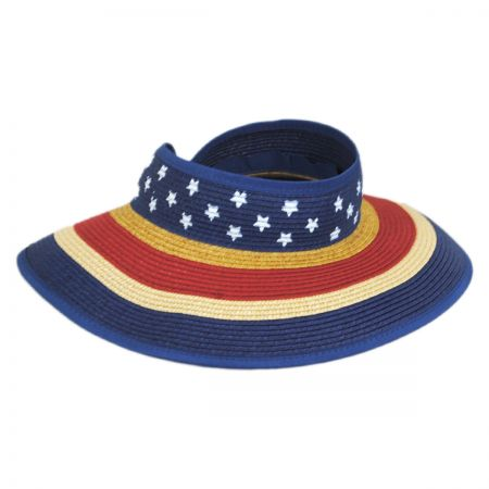 Jeanne Simmons Summer Fun Toyo Straw Blend Roll-Up Visor