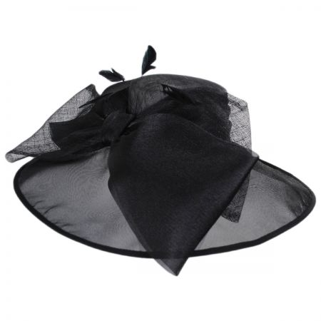 Big Bow Satin and Straw Boater Hat