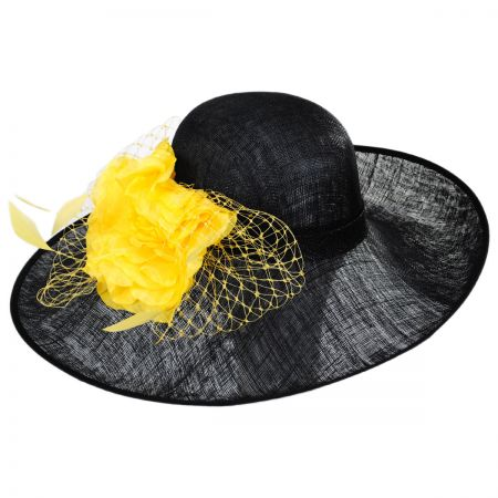 Kentucky Derby Mimosa Sinamay Straw Off Face Dress Hat
