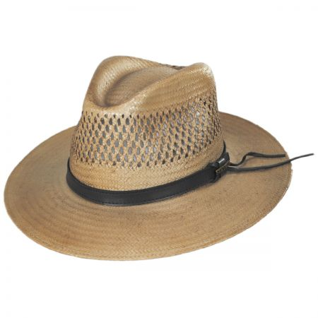 Peak View Shantung Straw Safari Fedora Hat