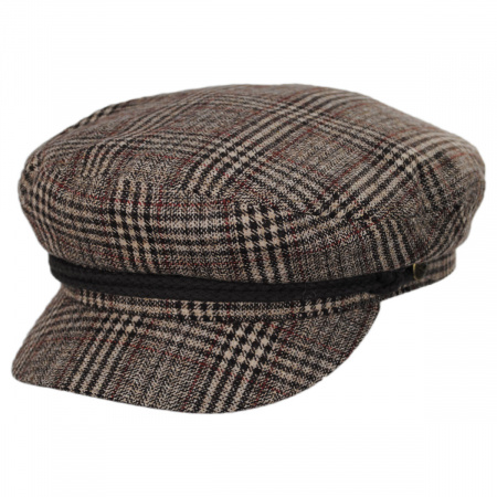 Brixton Hats Houndstooth Plaid Wool Blend Fiddler Cap